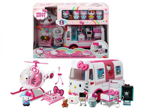 Hello kitty playset helicoptero c/ambulancia y figuras